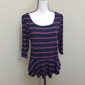 Bobeau XL Purple and Black Striped Top Peplum